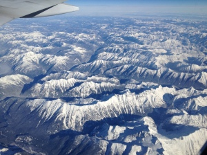 Mountain view from flight